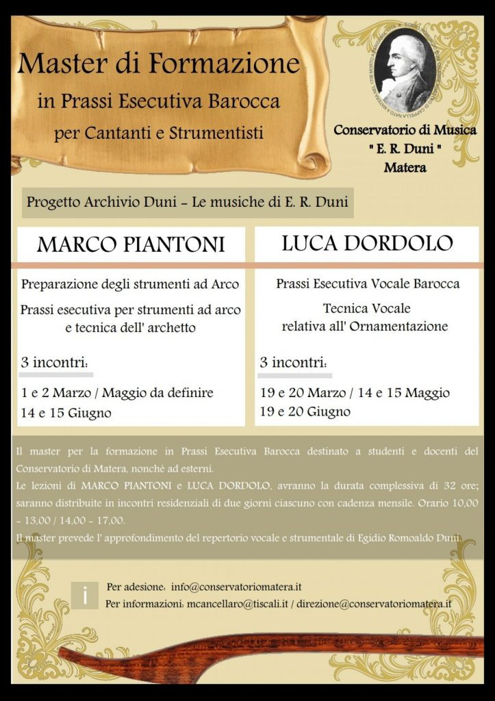Conservatorio E. R. Duni Matera musica antica